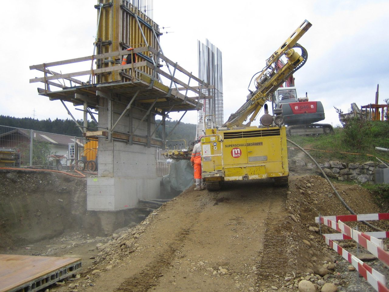 Drilling anchor piles to support the excavation bracing system